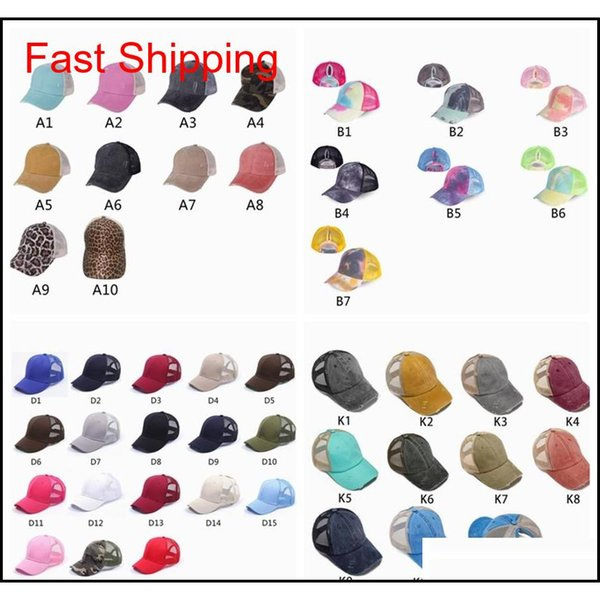 best selling Ponytail Baseball Caps Gliter Messy Bun Hats Washed Cotton Tie Dye Snapbacks Leopard Sun Visor Outdoor Hat Party Hats Zza2050 Mtyhg
