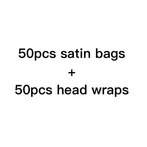 bolsas de satén + envolturas de cabeza