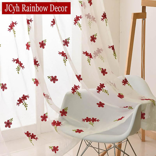 best selling Embroidery White Tulle Curtains For Living Room Bedroom Red Flower Kitchen Curtains Organza Window Voile Sheer Drapes