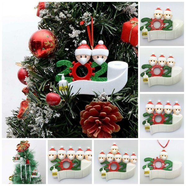 best selling 2020 Quarantine Christmas Decoration Birthdays Party Gift Product Personalized Family Of 4 Ornament Pandemic with Face Masks Hand Sanitized