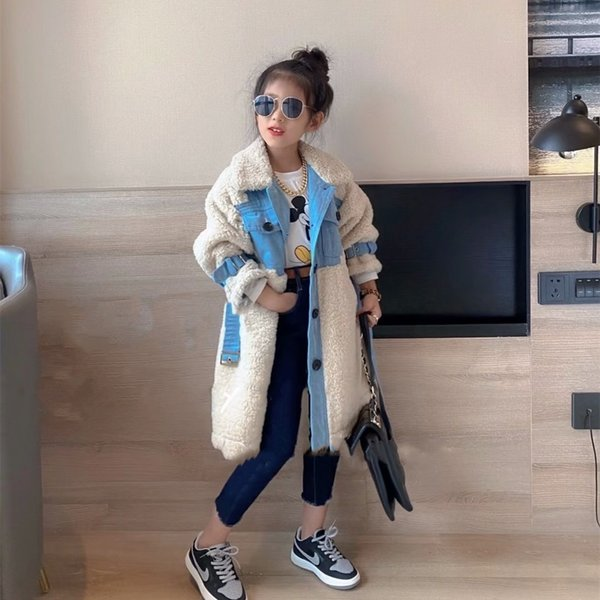 top popular Children's lamb wool coat for boys and girls 2020 autumn and winter new mid-length versatile warm faux fur trench coat Q1123 2020