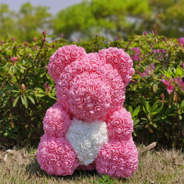 40cm Pink White Heart