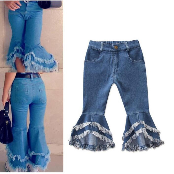 top popular Ins Baby Girls Flare Trousers Denim Tassels Jeans Leggings Tights Kids Designer Clothes Pant Fashion Children Clothes RRA1949 2021