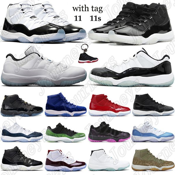 New 11 11s basketball shoes 25th Anniversary concord 45 gamma blue Men Women Trainers win like 96 space jam Sneakers with keychain