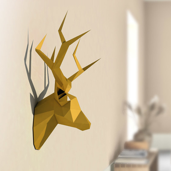 best selling 3D Pear David's Deer Head Animal Paper Model Toy Home Decor Living Room Decor DIY Paper Craft Model Party Gift Q1217