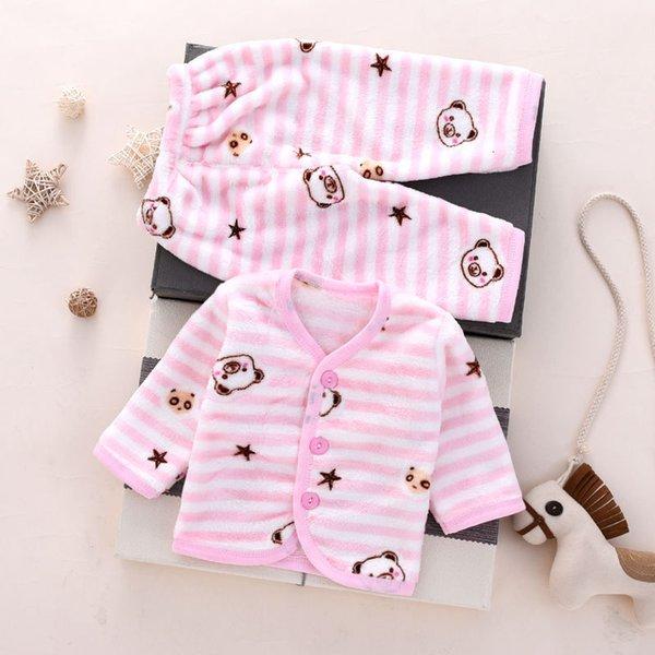 Розовый полосатый медведь фланелевый теплый костюм
