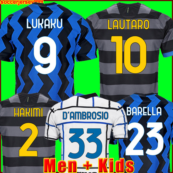 top popular INTER 2020 2021 soccer jersey LUKAKU MILAN VIDAL BARELLA LAUTARO ERIKSEN ALEXIS HAKIMI 20 21 football shirt uniforms men + kids kit third 2021