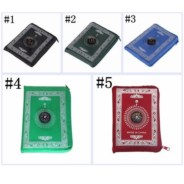 best selling Islamic Prayer Rug Portable Braided Mat Portable Zipper Compass Blankets Travel Pocket Rugs Muslim Prayer Rugs Musl jllfej lucky2005
