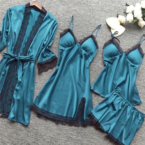 2021 Women Pajamas Sets Satin Sleepwear Silk 4 Pieces Nightwear Pyjama Spaghetti Strap Lace Sleep Lounge Pijama With Chest Pads