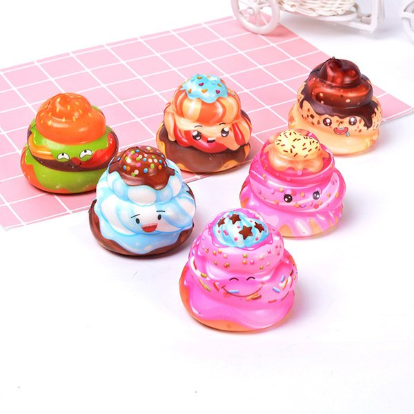 best selling 3Pcs Set Anti-Stress Cute Candy Cake Shit Soft Squish Toys Jumbo Slow Rising Shit AntiStress Squishy Toy For Kids Adult