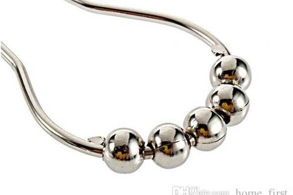best selling Antirust Calabash With 5 Ball Stainless Steel Chrome Plated Shower Bathroom Living Room Curtain Rings Hook Win jllyGv bdebag