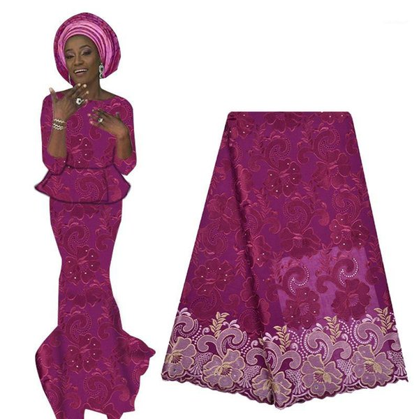 best selling 2020 Latest Swiss Voile Lace African French Cotton Lace Fabric with Beads High Quality Nigerian Voile For Woman Dress1