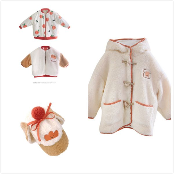 top popular Pre-sale 2020 AW RJ Cartoon Print Imitation Lamb Fur Jacket for Boys and Girls Children Double-sided Jacket Bandage Hooded Coat Q1123 2020