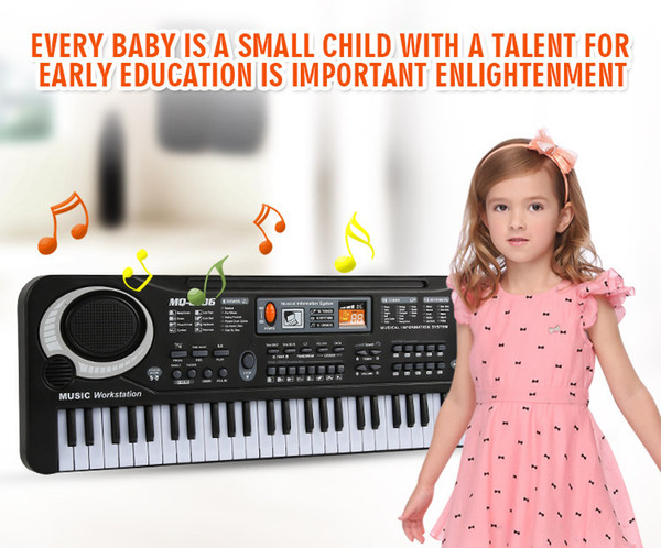 top popular 1pc multifunction 61 keys early education music electronic keyboard with mikephone kid piano organ record playback with retail pack 2021