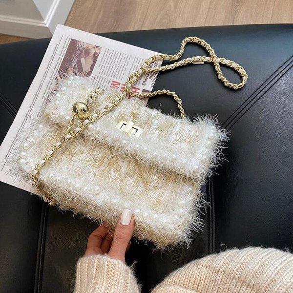 womens handbag sweet little fresh stripes Mao Maos chain bag winter plush shoulder bags fashionable Pearl decorative women messenger handbags