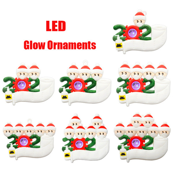 best selling 2020 LED Christmas Ornament DIY Greeting Survivor Family Quarantine Xmas Party Pandemic Social Distancing New Year Tree Pendant 2021 Glow