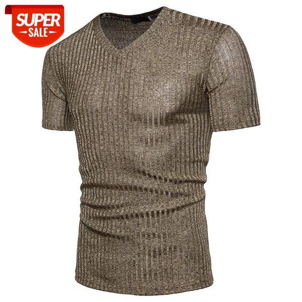 top popular Men's T-shirt African Fashion V-collar Design Pure-color Dynamic Simple Men's Short-sleeved T-shirt #U65r 2021