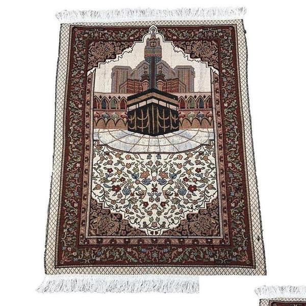 top popular Wholesale 70*110cm Thin Islamic Muslim Prayer Mat Salat Musallah Prayer Rug Tapis Carpet Tapete Banheiro Is bbyxQY bde_luck 2021