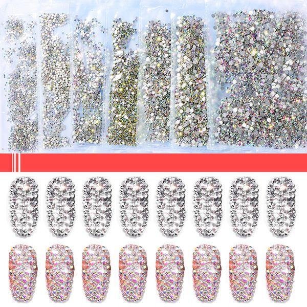 tas Décorations 1440pc / sac super Glitter strass Crystal Clear non HotFix FLATBACK verre Nail Art strass brillant drill Nail H0 ...