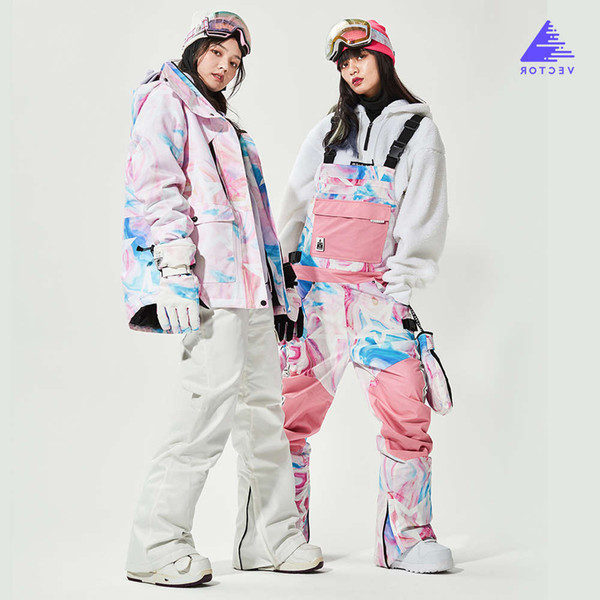 best selling VECTOR Men Women ski Suit = Jacket + one Overalls Winter Warm Windproof Waterproof Outdoor Sports Snowboard Skiing Set