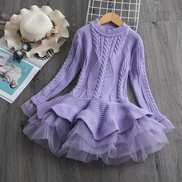 best selling Knitted Sweater Dress for Girls Autumn Winter shirt Ribbed Long Sleeve Kids Party Costume Casual Wear Princess Christmas Dress