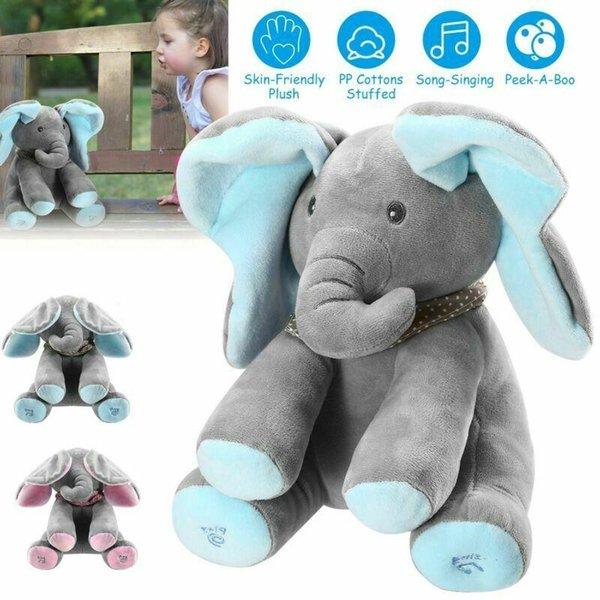 top popular Peek-A-Boo Elephant Stuffed Plush Toy Animated Music Cute Elephant Baby Doll Toy 2021