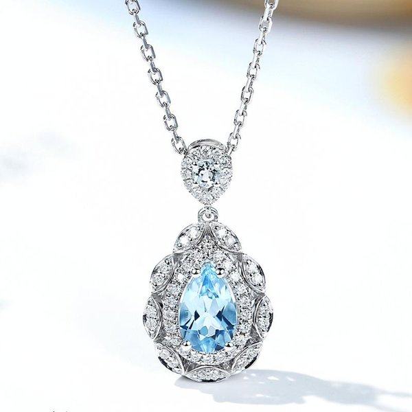 top popular Vintage aquamarine blue crystal topaz gemstones diamond pendant necklaces for women white gold silver color jewelry fashion gift 2021