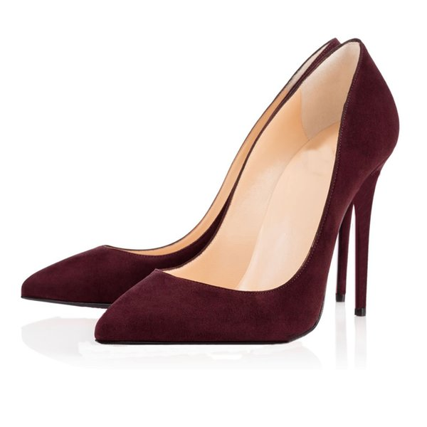 Pointed Toe Suede Wine Red