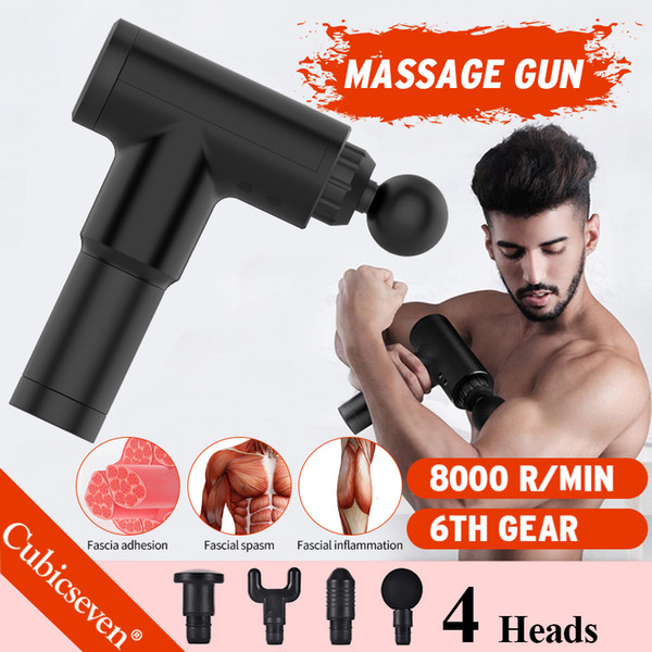 top popular Cubicseven® Upgrade 6 Levels Adjustable 8000r min USB Rechargeable 4 Heads Massage Gun Touch Screen Deep Tissue Percussion Muscle Massager 2021