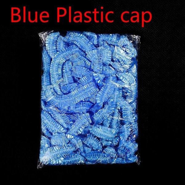 Blue plastic caps