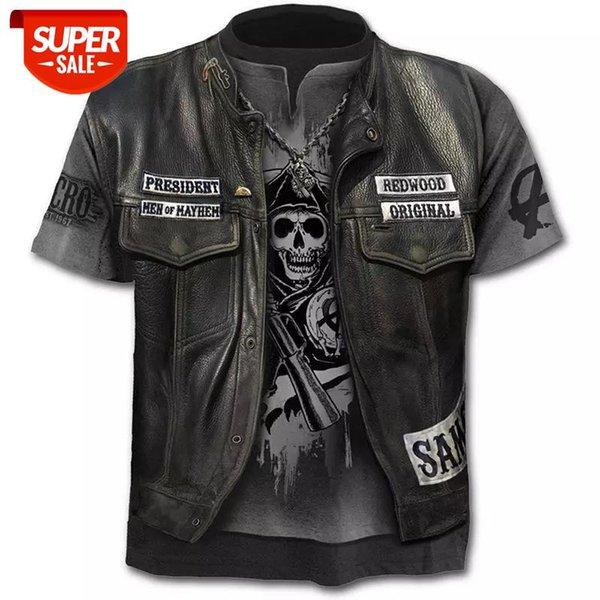 best selling 2020 New Fake Jacket Print T-Shirt Skull 3d T-Shirt Summer Trendy Short Sleeve Top Men Female Short Sleeve Top #YT0u