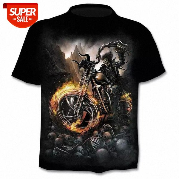 top popular 2020 new motorcycle skull 3dT-shirt men and women fashion hip-hop T-shirt street clothing pullover T-shirt tops #sf2V 2021