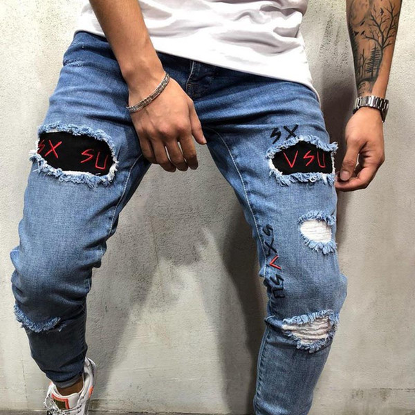 top popular Mens Designer Patches Panelled Jeans Male Stretch Skinny Hole Pencil Pants Fashion Homme Street Style Jeans 2021