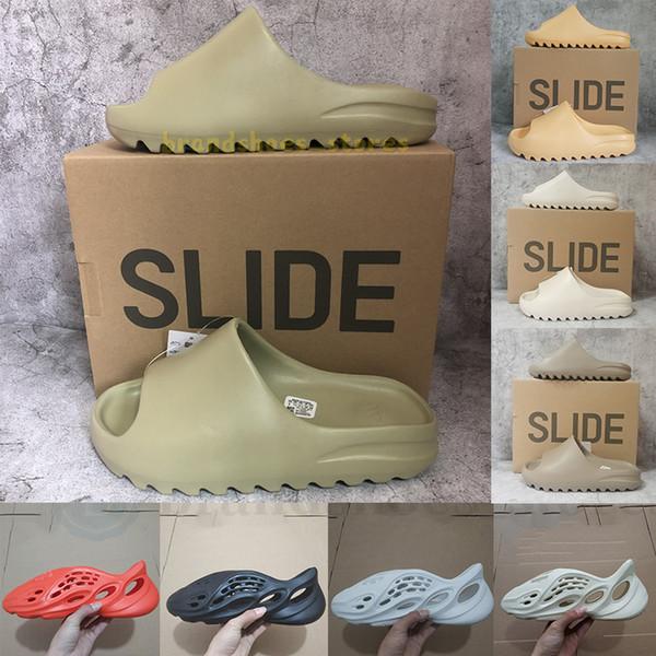 top popular Eur 36-47 With Box Kanye West Slides Slippers Foam Runner Sand Triple Black Bone White Resin Slide Sandal Mens Slipper Man Womens pantoufle 2021