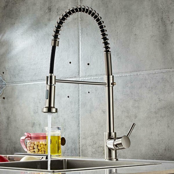 top popular Brushed Finish Nylon Kitchen Sink Faucet Pull Down Sprayer Single Hole Bar Mixer 2021