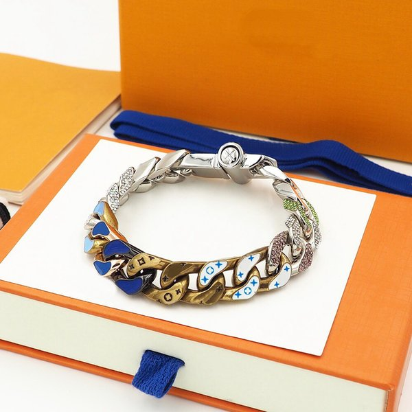 best selling New Arrive Fashion Men Titanium steel Engrave Four Leaf Flower Colored Enamel Diamond 18K Plated Gold Thick Chain Links Bracelets 2 Color