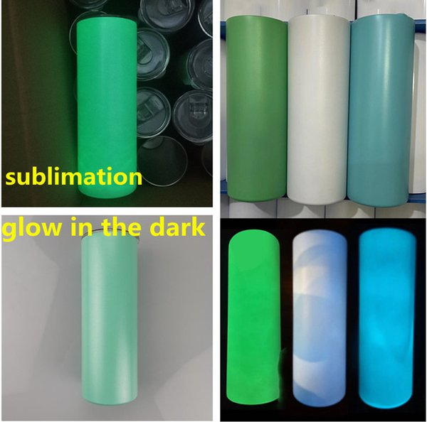 best selling sublimation blank straight tumbler glow in the dark tumbler 20oz with Luminous paint Luminescent staliness steel tumblers