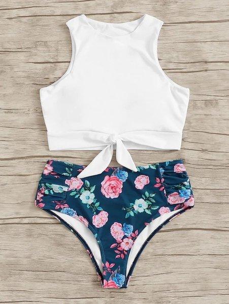 8 white floral pants