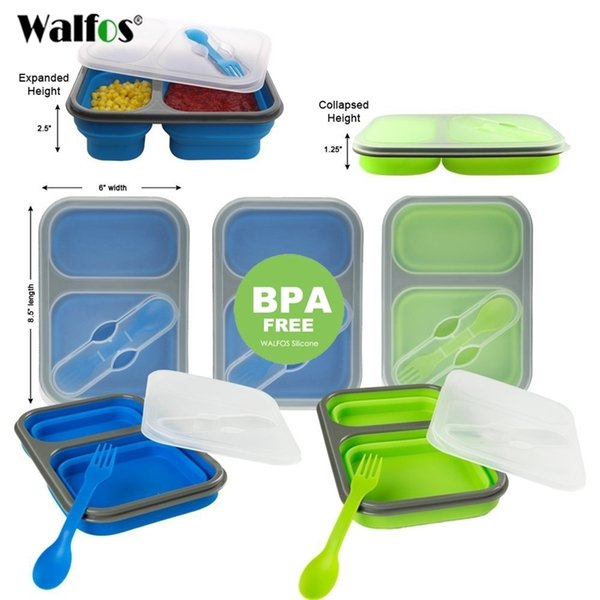 top popular WALFOS Silicone Collapsible Portable Lunch Box Bowl Bento Boxes Folding Food Storage Container Lunchbox for Outdoor Travel 201210 2021