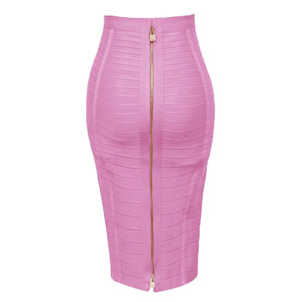 top popular 12 Colors Plus Size Xl Xxl Sexy Solid Zipper Orange Blue Black Bandage Skirt Women Elastic Bodycon Summer Pencil Skirt 58cm MX190730 2021