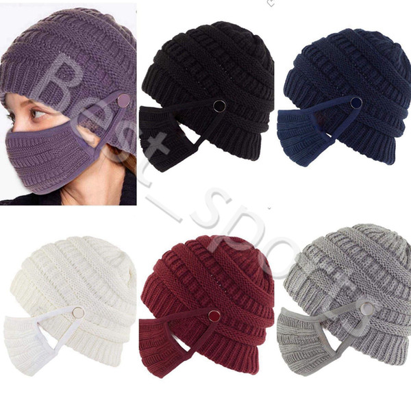 best selling Winter warm knit beanie reusable washable face masks outdoor sports woman knitted caps masks CYZ2943