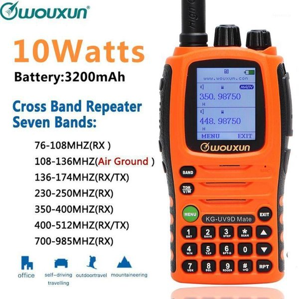 top popular Wouxun KG-UV9D Mate 10W Powerfrul 3200mAh 7 bands Air Band Cross band Amateur Ham Radio Walkie Talkie Upgrade KG-UV9D P1 2021