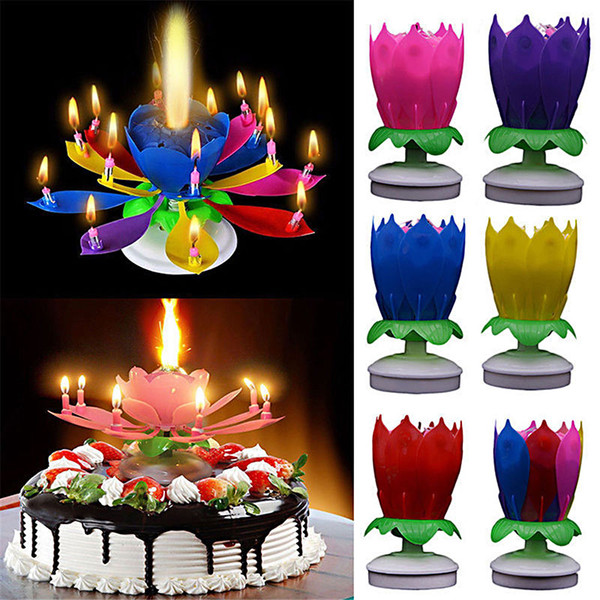 best selling Musical Birthday Candle Birthday cake Topper decoration Magic Lotus Flower Candles Blossom Rotating Spin Party Candle