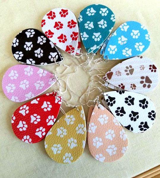 best selling New simple sparkly glitter water drop Teardrop Faux PU Leather Earrings for Women