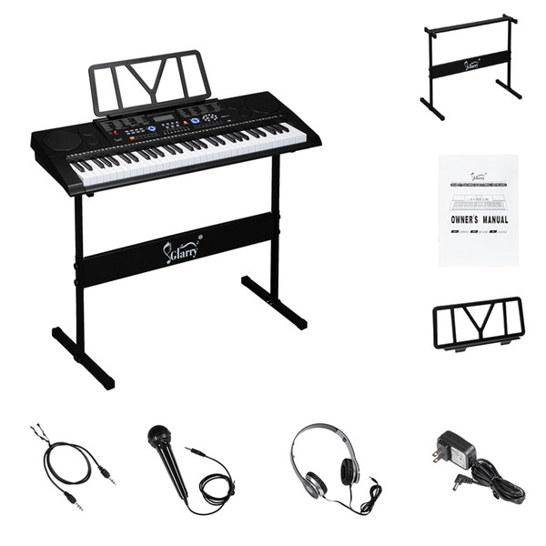 top popular Glarry 61 Key Portable Piano with Piano Stand Speakers Headphone Microphone Music Rest LCD Screen USB Teaching Modes for Beginners Black 2021