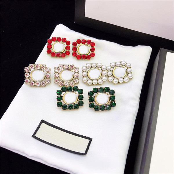 best selling Shiny Diamond Earrings Women Charm Earrings Ladies Letters Studs Pearl Designer Studs Alphabet Charm Earring Luxury Jewelry