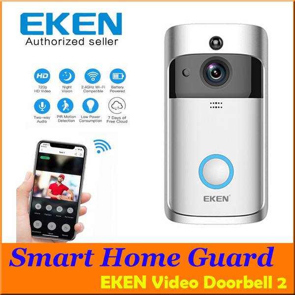 top popular EKEN Home Video Wireless Doorbell 2 720P HD Wifi Real-Time Video Two Way Audio Night Vision PIR Motion Detection with bells APP Control 2021