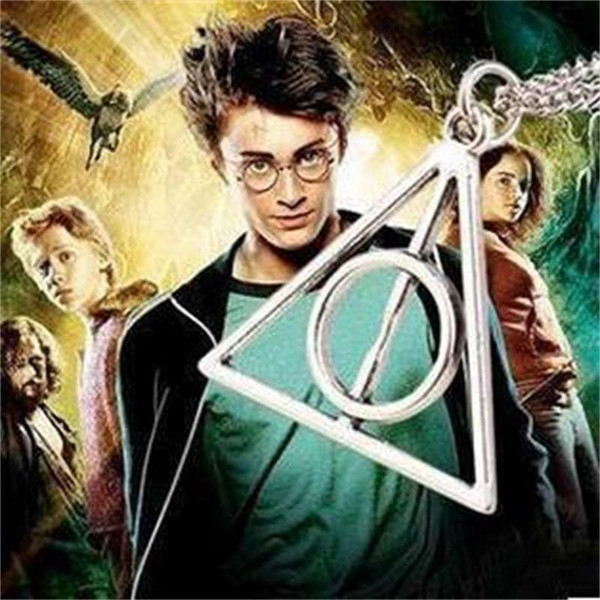 top popular Haliportluna Deathly Hallows rotatable triangle Necklace Round Pendant 2021