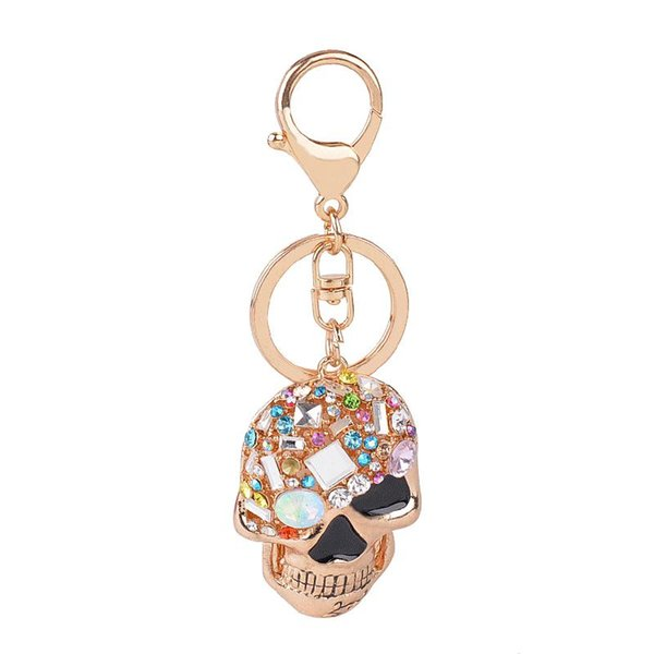 punk skull charm key ring chains holder colorized cz crystal fashion gold color metak men women keychain jewelry, Silver