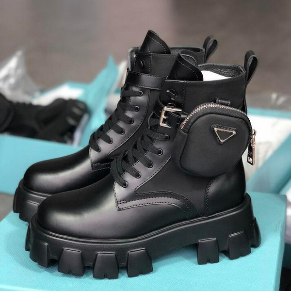 top popular High Quality Original Women Black Boots Martin Boots Detachable Nylon Pouch Combat Boots Ladies Outdoor Thick Bottom Shoes Mid-length Boot 2021